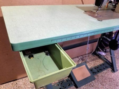 Industrial Sewing Table Opened Drawer